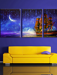 E-HOME® Stretched LED Canvas Print Art The Moon under The Sea Voyage LED Flashing Optical Fiber Print Set of 3