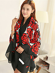 Vintage Country Style Red Twill Cotton Large Flowers Pattern Beach Towel Silk Scarf Travel  Shawl Scarves