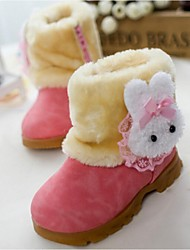 Girl's Boots Winter Snow Boots Cotton Fur Casual Flat Heel Red Khaki Fuchsia