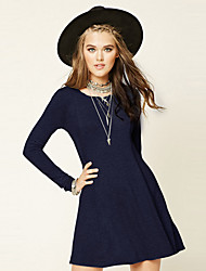 Women's Going out / Casual/Daily Sexy / Simple Sheath DressSolid Round Neck Knee-length / Above Knee Long