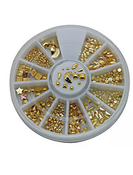 Hot 12Styles Mix Gold Metal Studs 6CM Wheel Nail Art Decoration