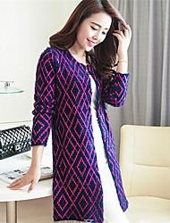 Women's Casual/Daily Simple / Cute Long CardiganGeometric  Cowl Long Sleeve Polyester Fall / Winter Medium