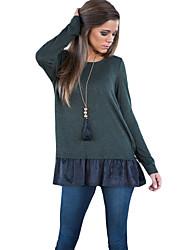 Tee-shirt Femme,Couleur Pleine Décontracté / Quotidien simple Printemps Manches Longues Col Arrondi Gris Coton Moyen