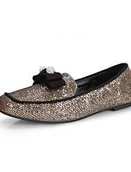Women's Sequins Solid Pull-on Square Closed Toe No-Heel Flats-Shoes