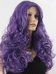 Women Cheap Synthetic Wigs High Quality Fashion Fluffy Fancy Purple Long Full Wig Wavy Hair Curl Cosplay Wigs