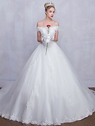 Ball Gown Wedding Dress Lacy Look Court Train Off-the-shoulder Tulle with Beading Lace