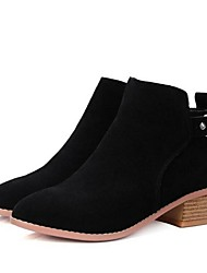 Women's Boots Spring Fall Suede Outdoor Low Heel Buckle Black Camel Other