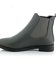 Черный Серый-Женский-Для прогулок Для офиса-Свиная кожа-На плоской подошве-Модная обувь-Ботинки