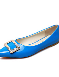 Dames Platte schoenen Comfortabel Lakleer Zomer Causaal Comfortabel Gesp Platte hak Zwart Grijs Rood Blauw Plat