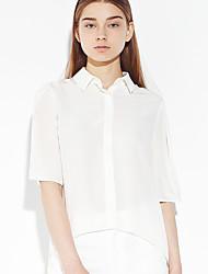 c + impressionner femmes sortant simple ressort / descente shirtsolid longueur manches chemise à col en soie blanche mince