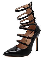 Damen-High Heels-Kleid Party & Festivität-Kunstleder-Stöckelabsatz-Komfort Neuheit Gladiator Pumps Modische Stiefel-Schwarz