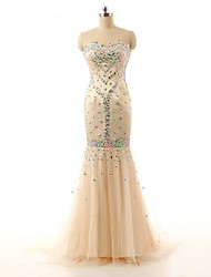 Formal Evening Dress Trumpet / Mermaid Sweetheart Sweep / Brush Train Satin with Appliques / Beading / Lace