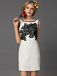 DREAMY LAND  Women's Going out Simple Sheath DressEmbroidered Round Neck Above Knee Sleeveless White Cotton / Others