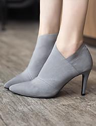 Damen-Stiefel-Lässig-PU-StöckelabsatzSchwarz Grau