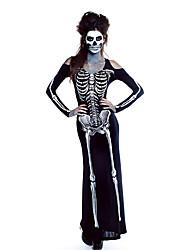 Fantasias Fantasma Dia Das Bruxas Preto Estampado Terylene Vestido / Mais Acessórios