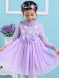 A-line Knee-length Flower Girl Dress - Cotton / Polyester Long Sleeve High Neck with Appliques / Flower(s)