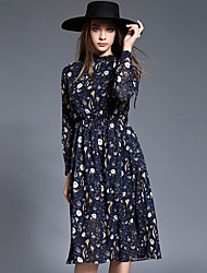 Mujer Vaina Vestido Noche Vintage,Estampado Escote Chino Hasta la Rodilla Manga Larga Azul Poliéster Otoño Tiro Medio Rígido Medio
