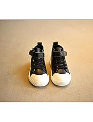 Jungen-Sneaker-Outddor / Sportlich-Leder-Flacher Absatz-Geschlossene Zehe-Schwarz / Weiß