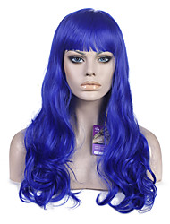 Fashion Women Curl Hair Wigs BLue Color Cosplay Heat Resistant Synthetic Wig Wedding Party Wig