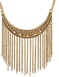 May Polly European and American fashion retro all-match metal diamond necklace tassel