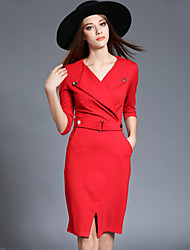 Women's Plus Size /Work Sexy Bodycon /Sheath DressSolid V Neck Knee-length  Sleeve Red /Black Rayon /Nylon Spring /Fall