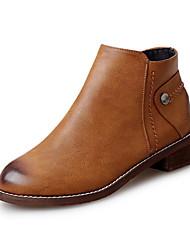 Women's Boots Fall Winter PU Office & Career Casual Flat Heel Zipper Split Joint Black Brown Other