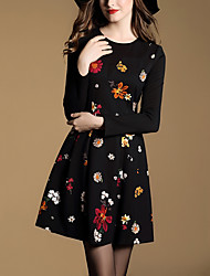 Women's Casual/Daily Vintage A Line DressEmbroidered Round Neck Above Knee Long Sleeve Black Polyester All Seasons