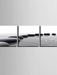MINI SIZE E-HOME Array Of Black Stones Clock in Canvas 3pcs