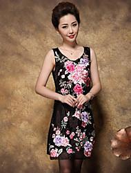 Gaine Robe Femme Sortie / Grandes Tailles Chinoiserie,Broderie Col en U Au dessus du genou Manches Longues Noir / Violet Polyester Eté