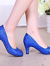 Damen High Heels Komfort Vlies Frühling Sommer Lässig Paillette Blockabsatz Rot Grün Blau Golden 5 - 7 cm