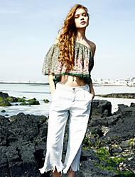 твердые синий / белый прямые брюки liangsanshi женщин, сексуальный / милый
