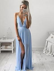 Damen Swing Kleid-Party/Cocktail Sexy Solide V-Ausschnitt Maxi Ärmellos Blau Seide / Baumwolle Alle Saisons Hohe Hüfthöhe Mikro-elastisch