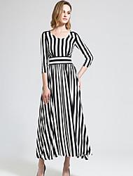 BORME® Damen V-Ausschnitt 1/2 Ärmel Maxi Kleid-Y030