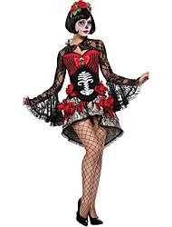 Fantasias Vampiros Dia Das Bruxas Vermelho / Preto Patchwork Terylene Vestido / Mais Acessórios