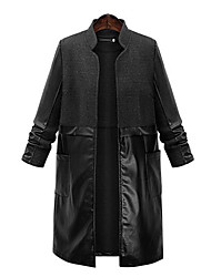 Women's Plus Size  Street chic Trench CoatPatchwork Standing Collar Long Sleeve Spring / Fall Black Polyester Medium
