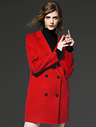 FRMZ  Work Simple CoatSolid / Print Peaked Lapel Long Sleeve Winter Red / Black / Green Faux Fur / Polyester Medium