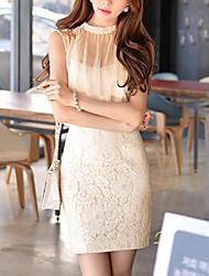 Mulheres Vestido Rendas / Chifon Simples Sólido Acima do Joelho Gola Redonda Algodão / Poliéster / Nylon / Elastano