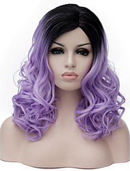 Light purple long curly hair and the wind nightclub performances Street color million with partial wig.
