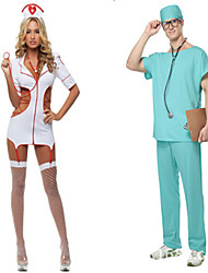 Costumes de Cosplay / Costume de Soirée Infirmière Fête / Célébration Déguisement Halloween Blanc / Bleu Couleur PleineHaut / Robe /