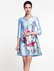 MASA  Women's Going out Chinoiserie / Sophisticated Sheath DressFloral V Neck Above Knee Sleeve Blue