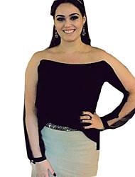 Damen Patchwork Einfach Lässig/Alltäglich T-shirt,Rundhalsausschnitt Herbst Langarm Blau / Weiß / Schwarz / Gelb Baumwolle Undurchsichtig