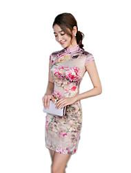 One-Piece Short Sleeve Medium Length Gray Lolita Dress Polyester