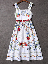 Boutique S Women's Formal Chinoiserie Loose DressFloral Strap Knee-length Sleeveless White Cotton / Polyester