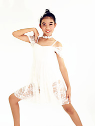 MiDee Ballroom Dance Dresses Women's / Children's Performance Spandex / Lace 2 Pieces White Ballroom Dance Short Sleeve