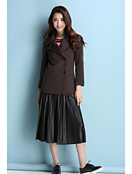 Women's Casual/Daily Simple CoatSolid Stand Long Sleeve Fall Pink / Red / Brown Wool Medium