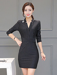Women's Plus Size / Going out Street chic Sheath Dress,Striped Stand Above Knee Long Sleeve Red / Black  Fall / Winter