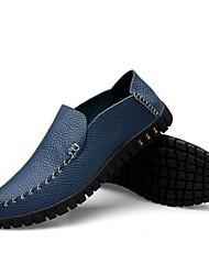 Masculino-Mocassins e Slip-OnsRasteiro-Preto Azul-Couro-Ar-Livre