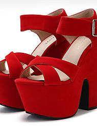 Women's Sandals Summer Heels / Platform / Sandals Fabric Wedding / Party & Evening / Casual Chunky Heel Buckle Black