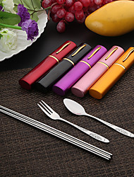 Set Of 3  tableware chopsticks & Fork & Spoon Stainless Steel Portable Convience (Random Colour)
