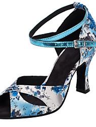 Customizable Women's Dance Shoes Satin Latin / Salsa Sandals / Heels Customized Heel Practice / Indoor Blue